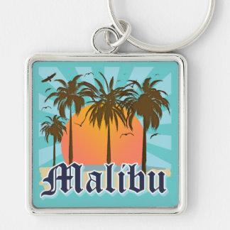 Playa California CA de Malibu Llavero Cuadrado Plateado