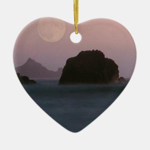 Playa California de Moonset Rockaway del agua Adorno De Navidad