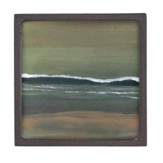 Playa cambiante del verde verde oliva del océano d caja de joyas de calidad