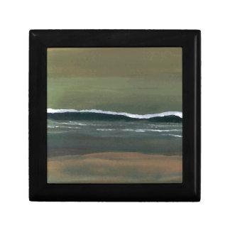 Playa cambiante del verde verde oliva del océano d caja de recuerdo