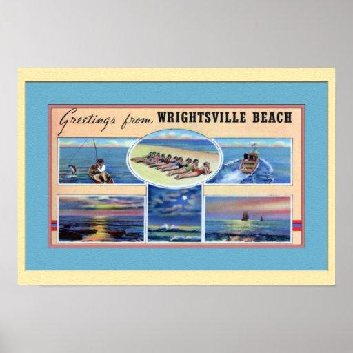 Playa Carolina del Norte de Wrightsville Póster