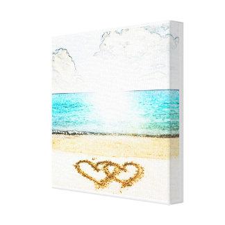 Playa con el corazón del amor en arena impresiones en lona