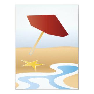 """playa con el paraguas invitación 6.5"""" x 8.75"""""""