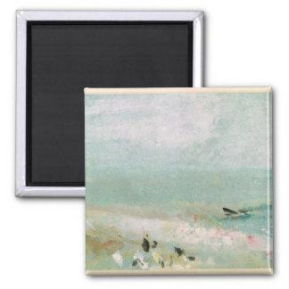 Playa con figuras y un embarcadero. c.1830 imán cuadrado