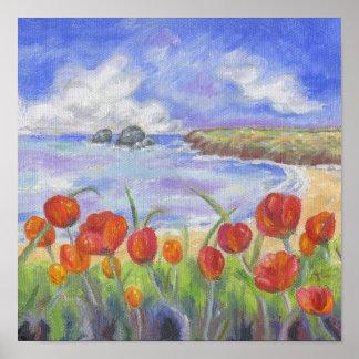 Playa con la impresión roja del arte de las póster
