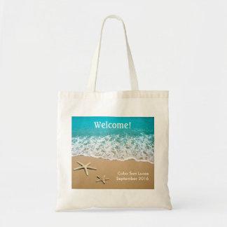 Playa con las estrellas de mar en la arena bolsa tela barata