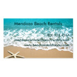 Playa con las estrellas de mar en la arena plantilla de tarjeta de visita