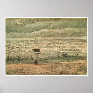 Playa con las figuras y el mar con una nave 1882 poster