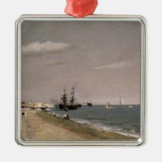 Playa con los mineros, 1824 de Brighton Adorno Cuadrado Plateado