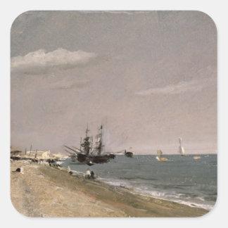Playa con los mineros, 1824 de Brighton Calcomanías Cuadradases