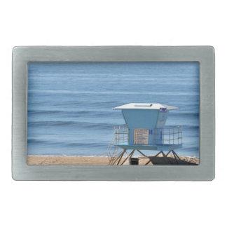 Playa con una cabina de Baywatch Hebillas De Cinturón Rectangulares