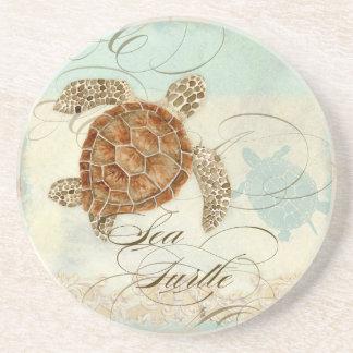 Playa costera de la tortuga de mar - prácticos de  posavaso para bebida