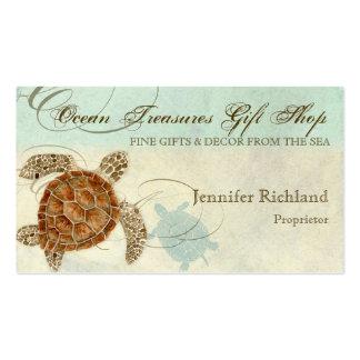 Playa costera de la tortuga de mar - tarjetas de v plantillas de tarjetas personales