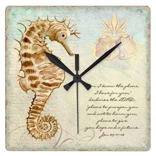 Playa costera del caballo de mar - escritura crist relojes