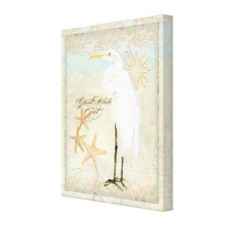 Playa costera del gran Egret blanco - arte de la a Lona Envuelta Para Galerias