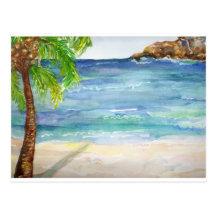 Playa de Aruba con la palmera Postal