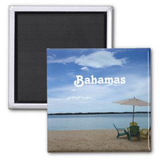 Playa de Bahama Imán Cuadrado