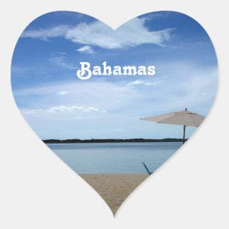 Playa de Bahama Calcomanía Corazón Personalizadas