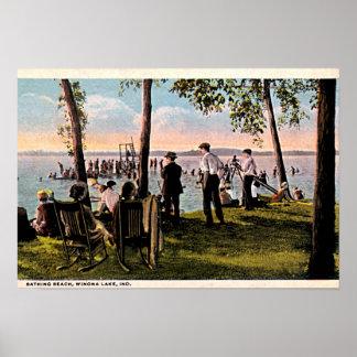 Playa de baño del lago Winona, Indiana Póster