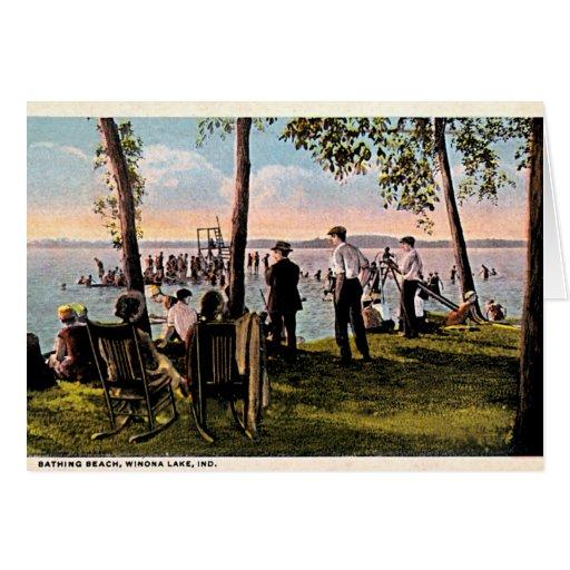 Playa de baño del lago Winona, Indiana Tarjeta De Felicitación