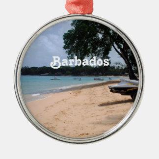 Playa de Barbados Adorno Redondo Plateado