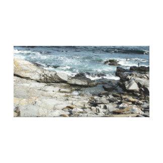 Playa de Beavertail, arte de Rhode Island Impresiones En Lienzo Estiradas