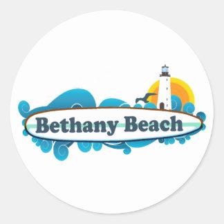 Playa de Bethany Pegatina Redonda