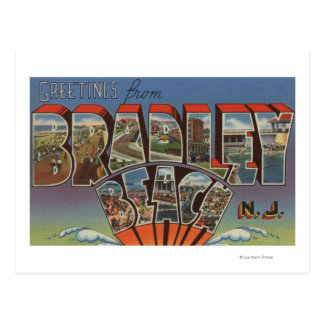 Playa de Bradley, New Jersey - escenas grandes de Postal