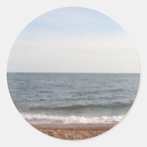 Playa de Brighton Pegatina Redonda