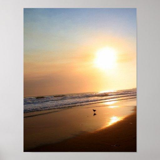 Playa de California en el crepúsculo Póster