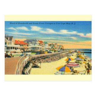 Playa de Cape May del vintage y postal del paseo