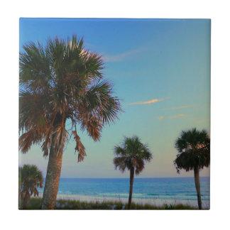 Playa de ciudad de Panamá, palmeras de la Florida Azulejo Cuadrado Pequeño