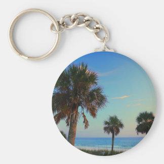 Playa de ciudad de Panamá, palmeras de la Florida Llavero Redondo Tipo Pin