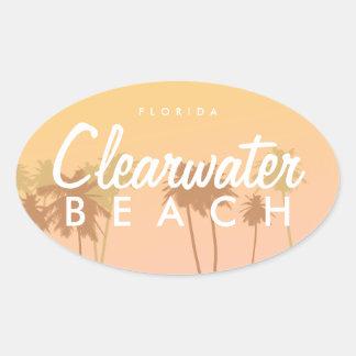 Playa de Clearwater Pegatina Ovalada