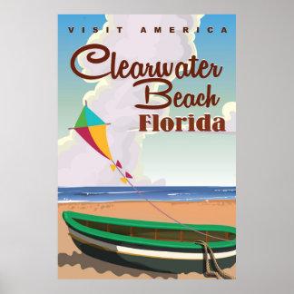 Playa de Clearwater, poster del viaje del vintage