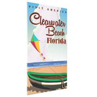 Playa de Clearwater, poster del viaje del vintage Impresion De Lienzo