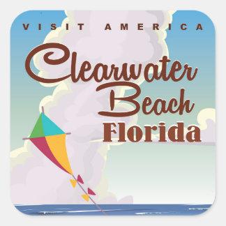 Playa de Clearwater, poster del viaje del vintage Pegatina Cuadrada