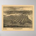 Playa de Coronado, mapa panorámico de CA - 1880s Impresiones