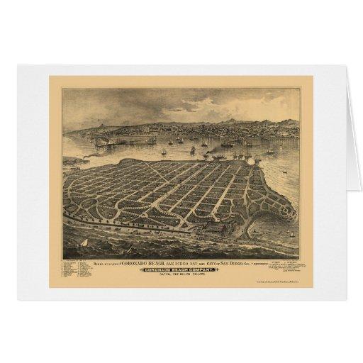 Playa de Coronado, mapa panorámico de CA - 1880s Tarjeta De Felicitación