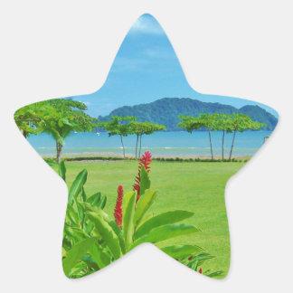 Playa de Costa Rica al aire libre Pegatina En Forma De Estrella
