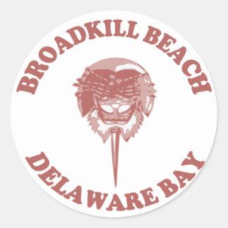 Playa DE. de Broadkill Pegatina Redonda