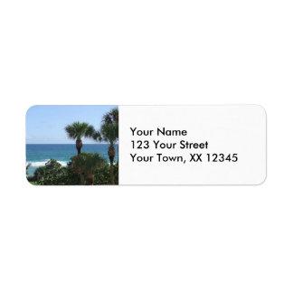 Playa de Deerfield, remite Labe de las palmeras de Etiqueta De Remite