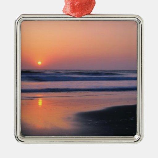 Playa de estado de Trinidad, California. LOS Adorno Cuadrado Plateado