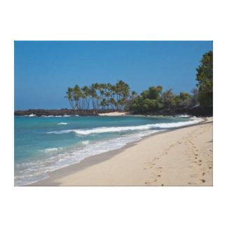 Playa de Hawaii con huellas en la arena Impresion De Lienzo