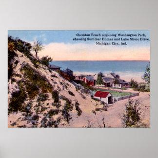Playa de Indiana Sheridan de la ciudad de Michigan Póster