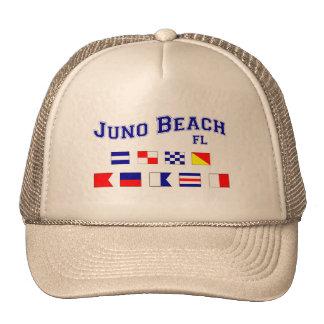 Playa de Juno, FL - deletreo náutico de la bandera Gorras