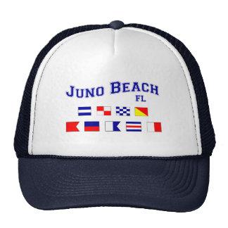 Playa de Juno, FL - deletreo náutico de la bandera Gorras De Camionero
