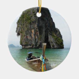 Playa de Krabi, Tailandia 3 Adorno Navideño Redondo De Cerámica
