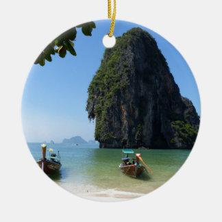 Playa de Krabi, Tailandia Adorno Navideño Redondo De Cerámica