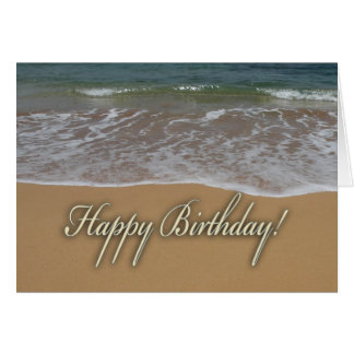 Playa de la arena del feliz cumpleaños tarjeton